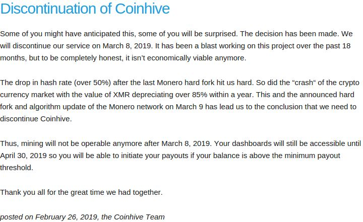 Crypto Mining Service Coinhive to Call it Quits