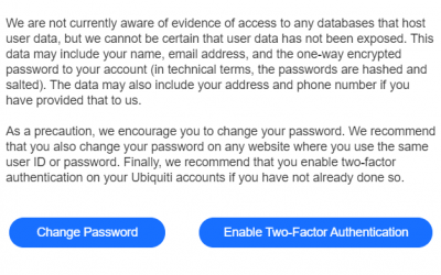 Ubiquiti: Change Your Password, Enable 2FA